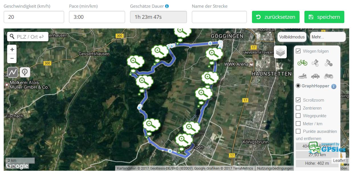 Fahrradtour - Planen mit GPSies.com