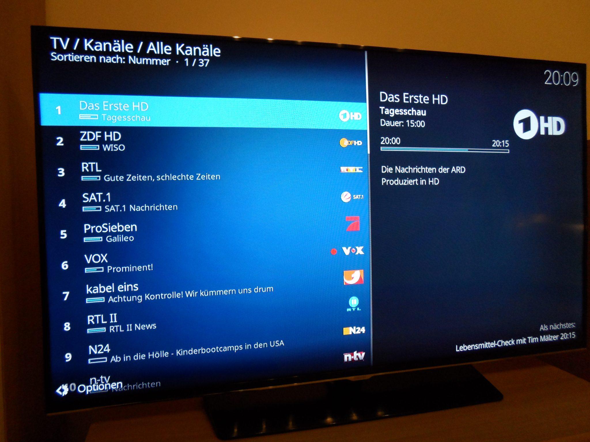 Tvheadend Senderliste in Kodi
