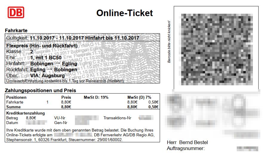 Deutsche Bahn Online-Ticket