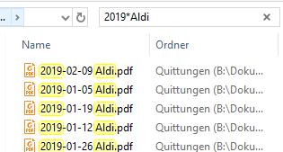 Platzhalter-Suche mit dem Windows-Explorer